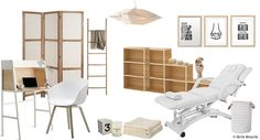 Planche tendance/moodboard Cabinet d'une thérapeute | Shopping : Ferm Living, Kizuku, Leroy Merlin, Etsy, Ikea, Maisons du Monde, Micasa, Conran, Kiwi Art Studio | © Gris Souris