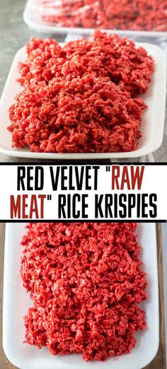 """Give your rice krispie treats a spooky upgrade and make these red velvet """"raw meat"""" rice krispie treats! It only takes a few ingredients and a few minutes to put together these tasty Halloween treats but your guests won't forget them!   www.persnicketyplates.com Halloween Desserts, Halloween Treats, Halloween Party, Halloween Foods, Rice Crispy Treats, Krispie Treats, Holiday Treats, Holiday Recipes, Halloween Rice Krispies"""