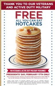 Bob Evans Restaurant is offering all active duty and retired military All You Can Eat FREE Hotcakes Monday, Feb. 17th!