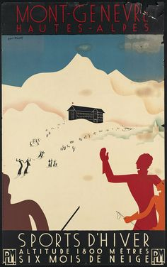 vintage tourism ad for skiing vacation in Switzerland