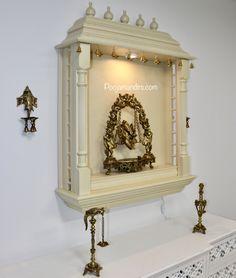 Pooja Mandirs USA - Vishaka Collection - Wall Hanging Mandirs Wooden Temple For Home, Pooja Mandir, Pooja Room Design, Pooja Rooms, Vintage Lighting, Altar, Meditation, Sweet Home, Study