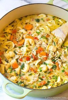 Creamy Tuscan Garlic Tortellini Soup is so easy to make and one of the best soups that you will make! Tortellini, diced tomatoes spinach and white beans are hidden is the most creamy and delicious soup that your family will love! Crock Pot Recipes, Best Soup Recipes, Healthy Chicken Recipes, Slow Cooker Recipes, Cooking Recipes, Soup Recipes With Chicken, Creamy Soup Recipes, Recipe Chicken, Health Soup Recipes