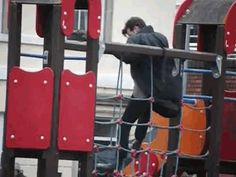 Matt Smith playing on a playground during Doctor Who filming. Actual proof that he is a five year old.