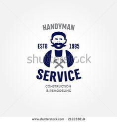 Retro Handyman carpenter corporate service badge symbol isolated on white background, good for creating logo design, vector illustration