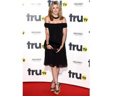 Former Made In Chelsea star Caggie Dunlop works an off-the-shoulder black dress to the Tru TV launch in London Chelsea Girls, Marie Claire, Off The Shoulder, Kicks, Celebrities, Beauty, Shopping, Black, Dresses