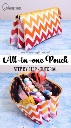 Diy Tote Bag, Pouch Bag, Pouches, Zipper Bags, Zipper Pouch, Small Sewing Projects, Pouch Pattern, Fabric Bags, Sewing Accessories