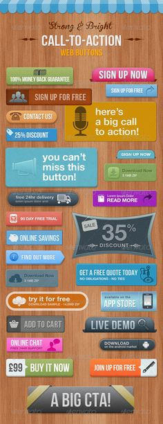28 Call To Action Buttons  - Bright & Eye-Catching