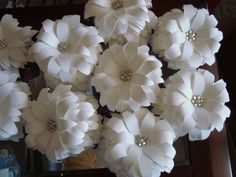 Our paper flower lilies are handmade to order with jewel centres. Perfect for event accents and decor like favour (bomboniere) box toppers, $10.50 set of 10