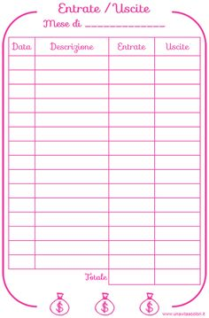 Record your home expenses on the agenda with the refill from scari Registra le spese di casa sull'agenda con il refill da scaricare gratis entry and exit register - Arc Planner, Agenda Planner, Budget Planner, Agenda Organizer, Planner Organization, Bullet Journal Ideas, Bullet Journal Tracker, Home Binder, Daily Planner Printable