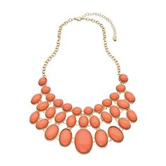 Blu Bijoux Gold and Coral Oval Three Row Bib Necklace (29 CAD) ❤ liked on Polyvore featuring jewelry, necklaces, accessories, colares, collares, yellow gold necklace, coral necklace, yellow gold jewelry, graduation jewelry and bib collar necklace