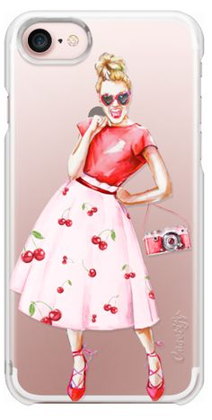 Casetify iPhone 7 Wallet Case - Cherry Girl Vintage Camera Retro Photo 50s Fashion Pink Red Shoes Summer Fruits by Karamfila Siderova #Casetify