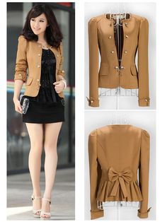 20e32748428 New Fashion Women Slim fit Business Puff Sleeves Suit Blazer Jacket Coat