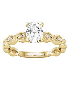 Vintage inspired accented engagement ring in gold | Ever & Ever 'Mckenzie' | http://trib.al/m6h3yM8
