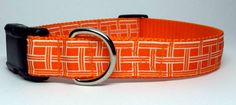 Orange and White Patterned Dog Collar by KibblesandCollars on Etsy