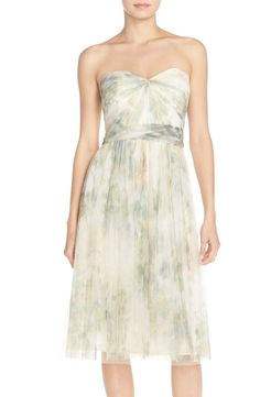 Jenny Yoo 'Maia' Print Tulle Convertible Tea Length Fit & Flare Dress