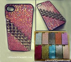 iPhone 4 Case, iPhone 4s Case, iPhone 5 Case, Glitter iPhone 5 Case, iPhone 4 glitter case, studded iPhone 4 case, studded iPhone 5 case by iPhone5CaseBling, $13.98