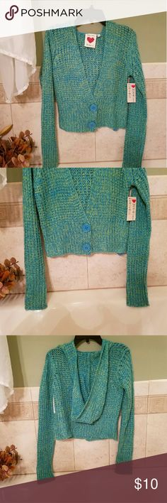 Sweater Pretty, cropped, crocheted, cardigan hooded sweater. Extra long sleeves. NWT by Derek Heart. Derek Heart Sweaters Cardigans