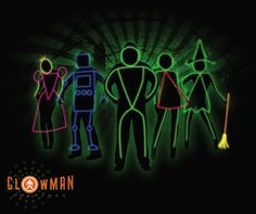 I've always wanted to do this for Halloween! Glow man costumes inc. Glow in the dark, glow stick halloween costumes. Stick Man Halloween Costume, Stick Figure Costume, Couple Halloween Costumes, Glowstick Costume, Glow Costume, Dark Costumes, Light Up Costumes, Holiday Costumes, Family Costumes