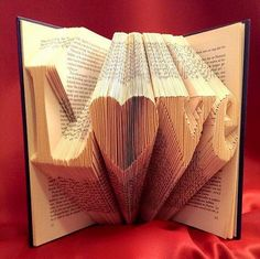 Folded Book art Pattern to fold a small heart into a book - including manual… Folded Book Art, Book Folding, Book Crafts, Diy And Crafts, Arts And Crafts, Origami, Art Projects, Projects To Try, Altered Books