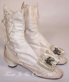 Victorian Shoes Wedding Boots Vintage Rosettes 19th Century Celebrations Steampunk