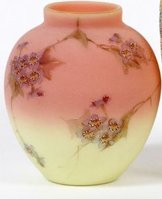 Mt Washington Burmese Satin Finish Vase With Hawthorn Decoration and Gold Wash Rim. 4.65 HOA and 4 inch DOA