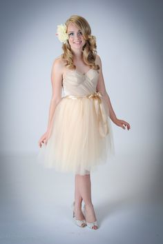 Blushing Bridesmaids Dress Champagne Tulle Tutu by darkponydesigns, $235.00