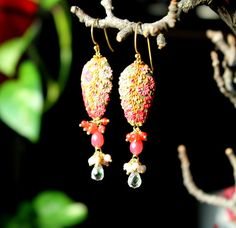 Grapefruit chalcedony, Pink Opal and Rose quartz with  polymer clay floral long dangle earrings - If Pink was a Fragrance via Etsy