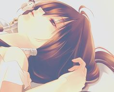 In this cute anime picture an anime girl is kissing a butterfly. She came out really cute.