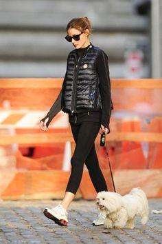 Olivia Palermo wearing Westward Leaning Children of California Sunglasses, Moncler Puffer Vest, Nike Legendary Capri Leggings and Nike Shox Nz Sneakers