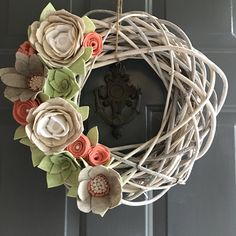 A personal favorite from my Etsy shop https://www.etsy.com/listing/509283248/felt-flower-wreath-grapevine-wreath