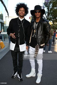Laurent Bourgeois and Larry Bourgeois ' Les Twins' arrive at the Anthony Vaccarello show as part of the Paris Fashion Week Womenswear Spring/Summer 2016 on September 29 2015 in Paris France. Hip Hop Fashion, Fashion Week, Paris Fashion, Fashion Trends, Men's Fashion, Fashion Basics, Les Twins, Hipster Outfits, Style Hip Hop