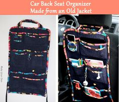 Make Your Own: Car Back Seat Organizer Made from an Old Jacket  Tutorial
