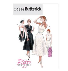 Butterick 5214 1950s Repro Vintage Sewing Pattern: Dress, Jacket and Belt