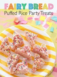 Party food idea Allergy friendly fairy bread rice krispy treats mypoppet.com.au