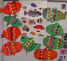 tropical fish weaving. Perfect for 1st grade. Goes along with ocean frameworks taught during spring semester.