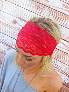 wish i could pull this off..Cranberry Red Lace Headband Stretchy Hair Band