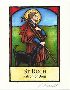 Metaphysical Gifts, Cards, Wrap and Crystals | Life Is A Gift Shop - Patron of Dogs Art Print: St Roch Illustration by Barbara Barratt, $12.00 (http://lifeisagiftshop.com/patron-of-dogs-art-print-st-roch-illustration-by-barbara-barratt/)