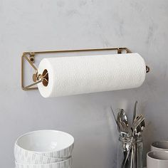 "Wire Kitchen Collection - Mountable Paper Towel Holder      14.4""w x 6.1""d x 4.1""h.     Brass-finished steel.     Imported."
