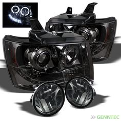For Smoked 07-14 Avalanche Suburban Tahoe 2x Halo LED Pro Head Lights+Fog Lamp