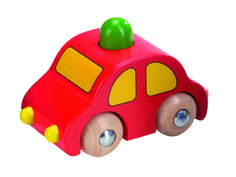 Natural and high quality toys to the development of the skills of children. Red car with green horn