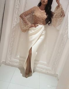Prom Dresses 2019 Modest Yousef Aljasmi Dubai Arabic Evening Party Wear Gown White Champagne Tulle Pearls Long Sleeve Lace Front Split Prom Dresses Long With Sleeves, Modest Dresses, Sexy Dresses, Short Dresses, Fashion Dresses, Fashion Shirts, Fashion Fashion, Fashion Games, Fashion Clothes