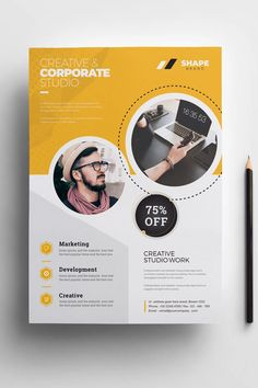 Gepp ideas Shape - Flyer Corporate Identity Template Your Gu Corporate Design, Graphic Design Flyer, Design Brochure, Flyer Design Templates, Corporate Flyer, Flyer Template, Corporate Identity, Identity Branding, Story Template