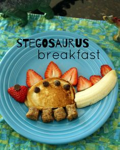 Kid-Friendly Stegosaurus Breakfast Fun stegosaurus pancake breakfast for kids.Fun stegosaurus pancake breakfast for kids. Cute Food, Good Food, Yummy Food, Fun Meals For Kids, Fun Food For Kids, Fun Recipes For Kids, Kids Meal Ideas, Cooking For Kids, Dinner Ideas For Kids