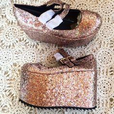 Glitter ballerina platforms New in box size 38. Brand kerol d. Sold @ nastygal Nasty Gal Shoes Platforms