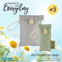 Say goodbye to bad smells in the air with the Norwex air freshener bags. Sustainable bamboo charcoal is used to naturally absorb odours and moisture. The air is left fresh, clean, and free of chemicals.