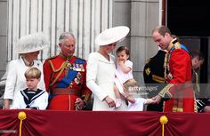 Camilla, Duchess of Cornwall, Prince Charles, Prince of Wales, Catherine, Duchess of Cambridge, Princess Charlotte of Cambridge, Prince George and Prince William, Duke of Cambridge appear on the balcony of Buckingham Palace following the Trooping the Colour ceremony to mark the Queen's official 90th Birthday on June 11, 2016 in London, England.