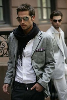 Shop this look on Lookastic: http://lookastic.com/men/looks/sunglasses-scarf-jeans-longsleeve-shirt-blazer/6619 — Black Sunglasses — Black Scarf — Black Jeans — White Long Sleeve Shirt — Grey Plaid Blazer