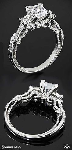 The intricate stylings of Verragio | Princess Cut Engagement Ring | bridesandrings.com #princesscutengagementring #princesscutring