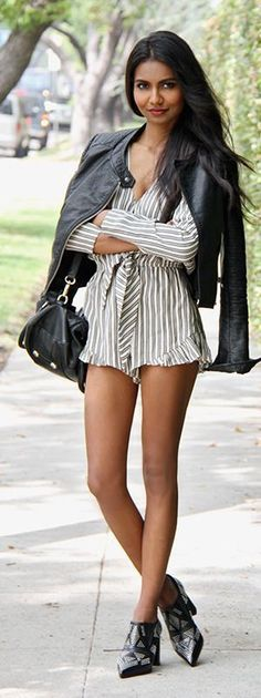 Pinstriped Romper Streetstyle