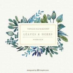 Folhas e ervas Fundo da aguarela